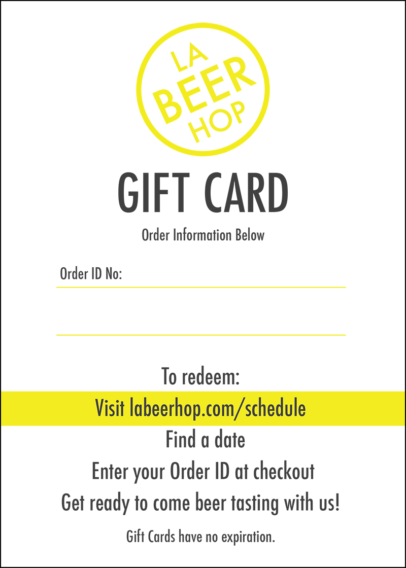 Gift Cards Gift Certificates For La Craft Beer Tours La Beer Hop